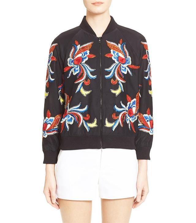 Alice + Olivia Felisa Embellished Silk Bomber Jacket