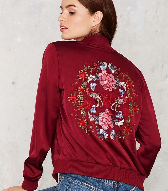 Nasty Gal Flower Trip Bomber Jacket