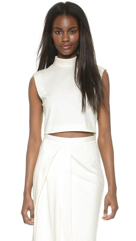 Tibi Mock Neck Crop Top