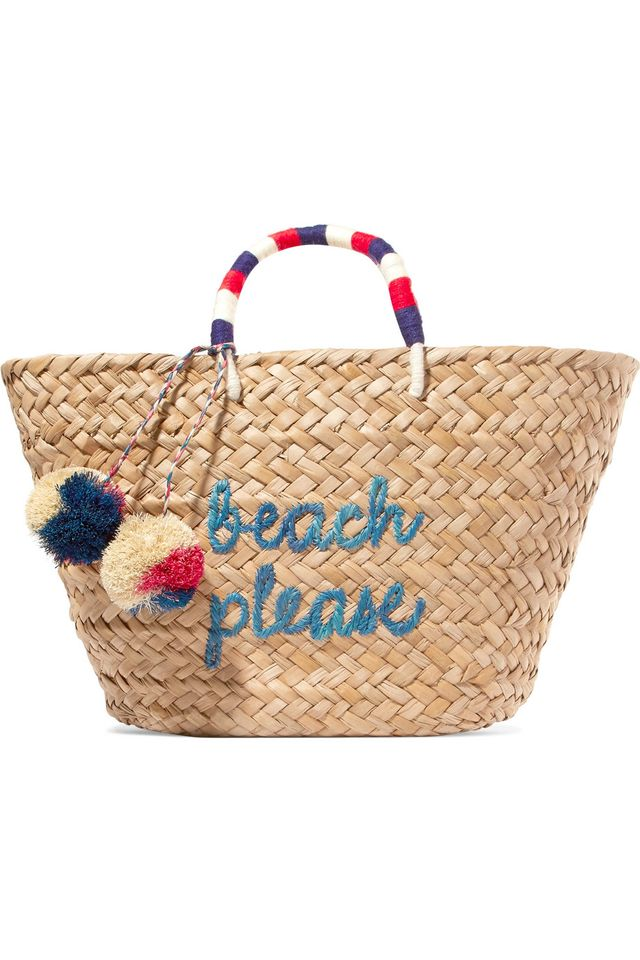 Kayu St. Tropez Embroidered Woven Straw Tote