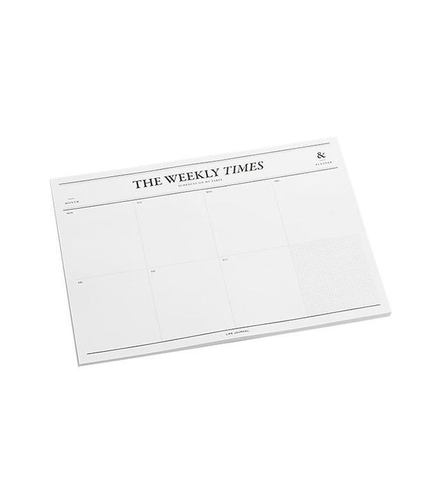 CB2 Weekly Times Desk Notepad Calendar