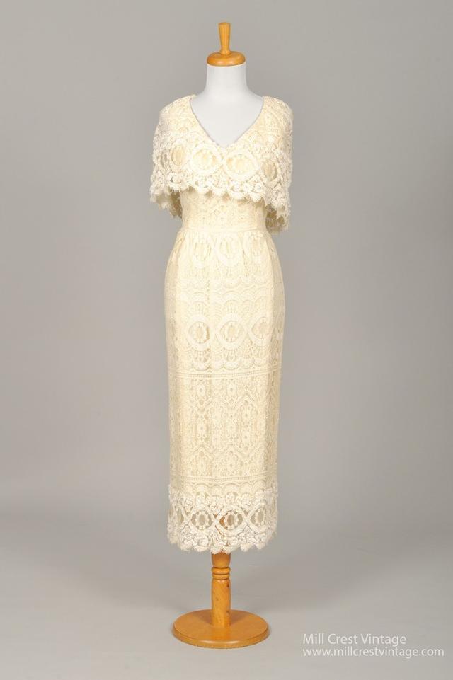 1960s Buttercream Vintage Wedding Dress