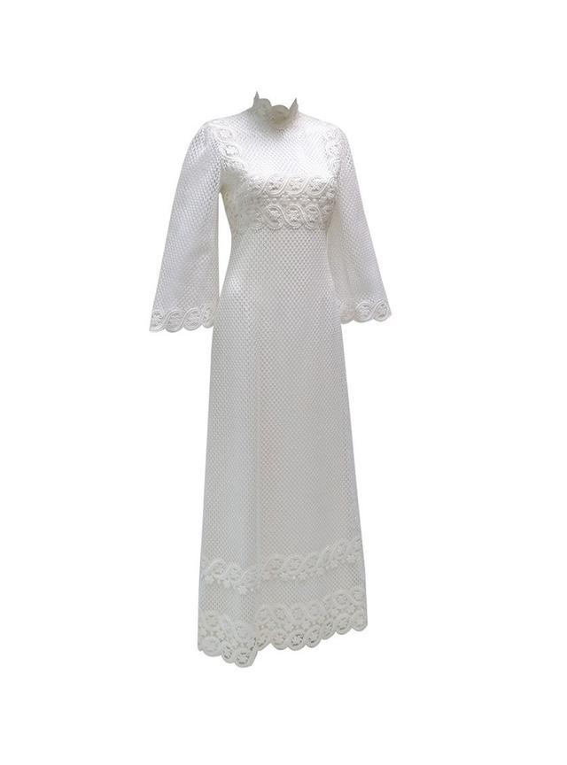 Werle 1960s White Lace Maxi Dress
