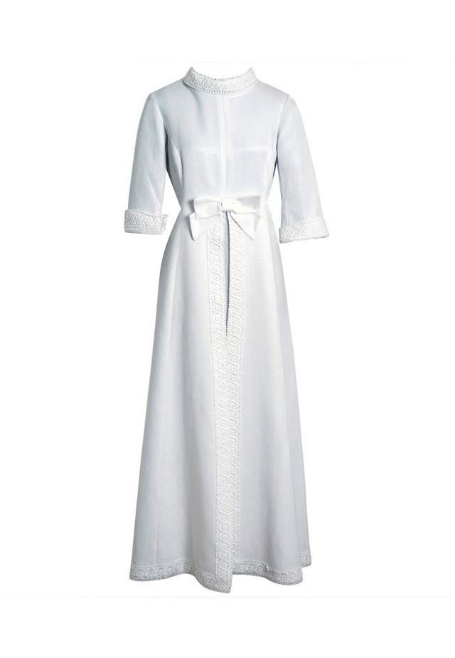 Maggy Rouff 1960s Crisp-White Cotton Lace Tea-Length Gown