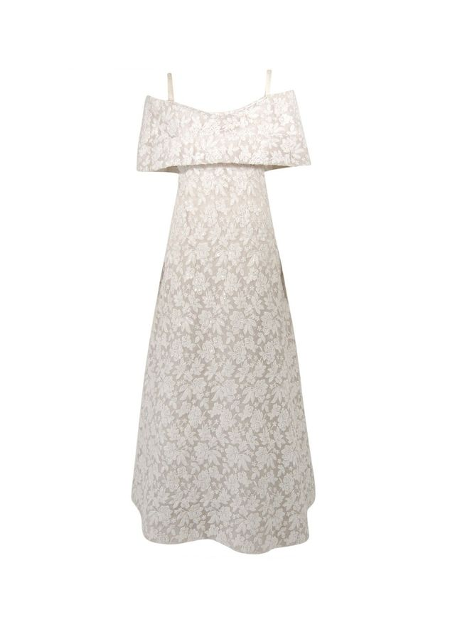 Arnold Scaasi White Floral Embroidered Wedding Dress