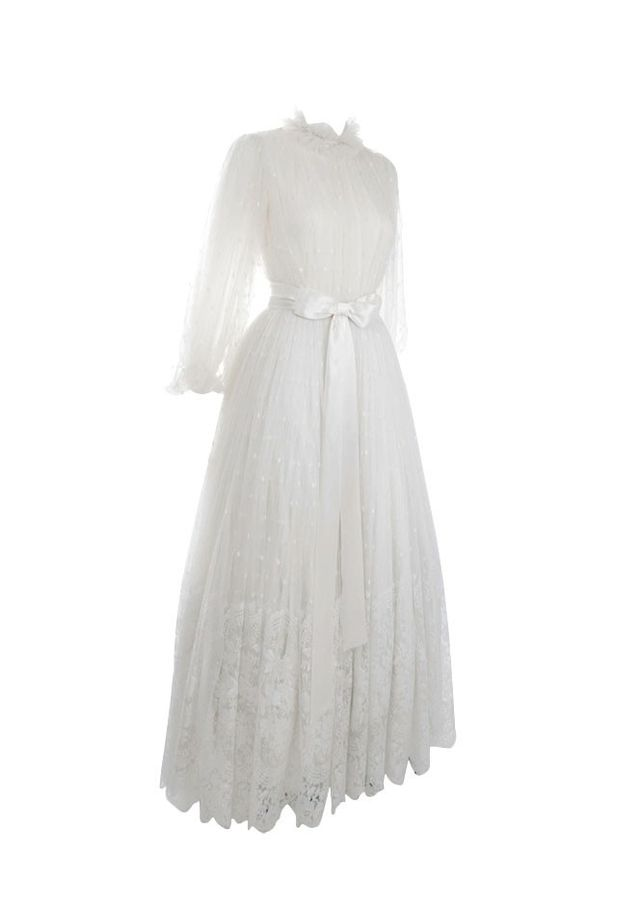 Jean-Louis Scherrer 1970s Lace Wedding Gown