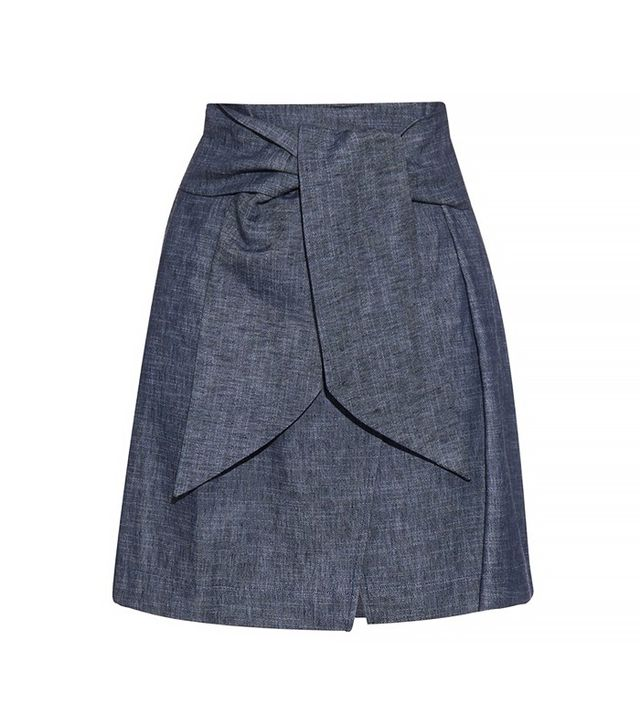 MSGM Self-Tie Waist Denim Skirt