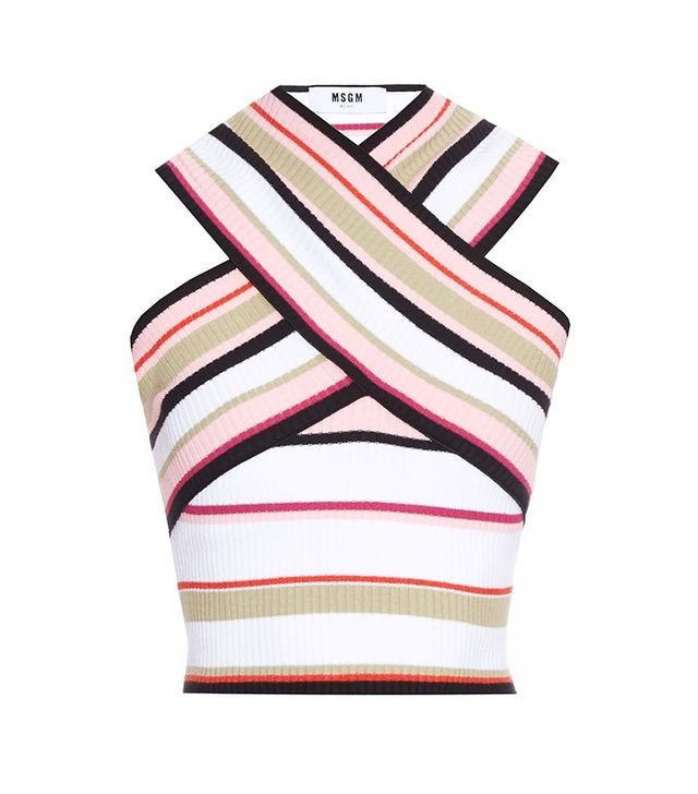 MSGM Cross-Front Ribbed-Knit Top