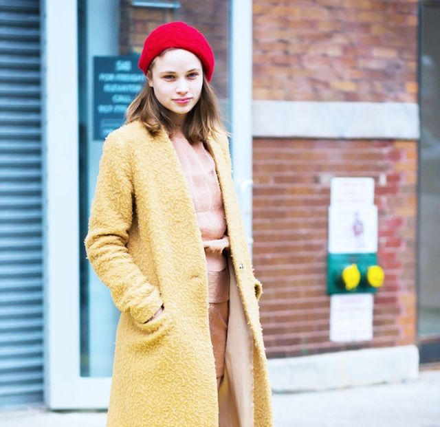 Style Notes: A red beret lends an elevated lift to caramel colours and blush hues.