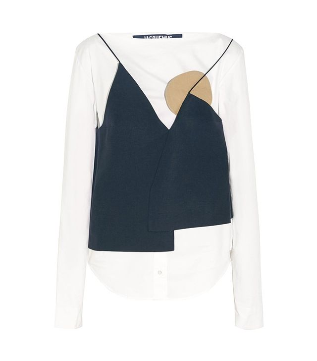 Jacquemus Linen-Paneled Stretch-Cotton Poplin Blouse