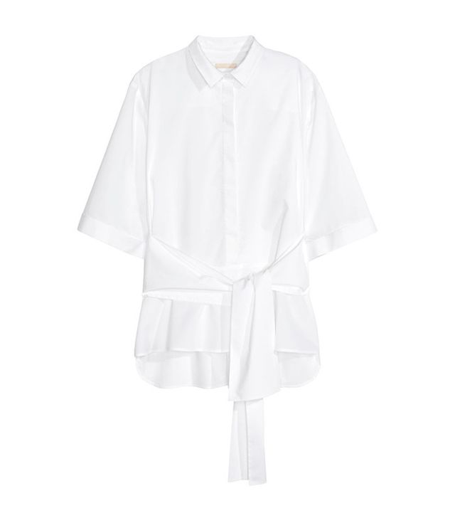 H&M Cotton Tied Blouse