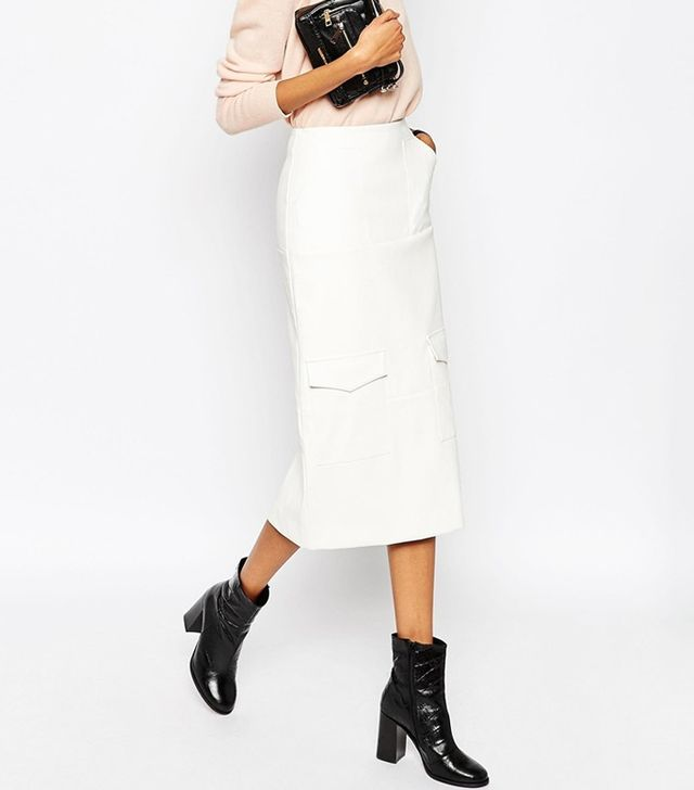 ASOS Leather Look Pencil Skirt with Utility Pockets