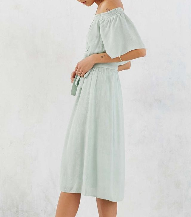Ecote Gauzy Off-The-Shoulder Midi Dress