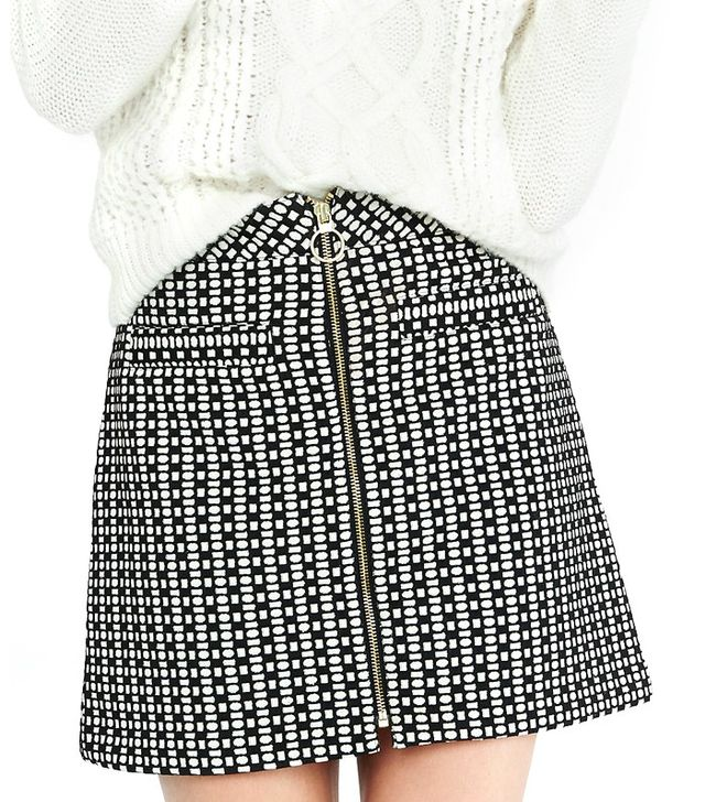 Express Geo Print High Waisted A-Line Mini Skirt