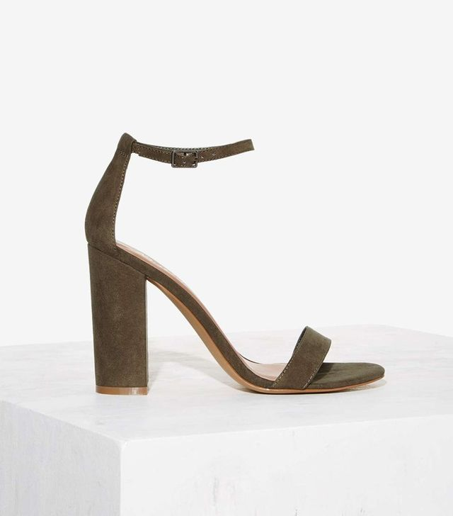 Nasty Gal Take the Strap Vegan Suede Heel