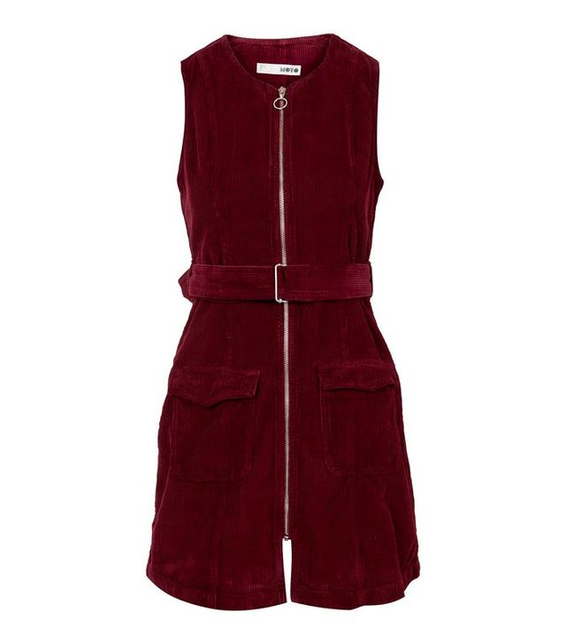 Topshop Moto Cord Zip Front Dress