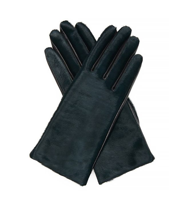 Agnelle Chloe Calf-Hair and Leather Gloves