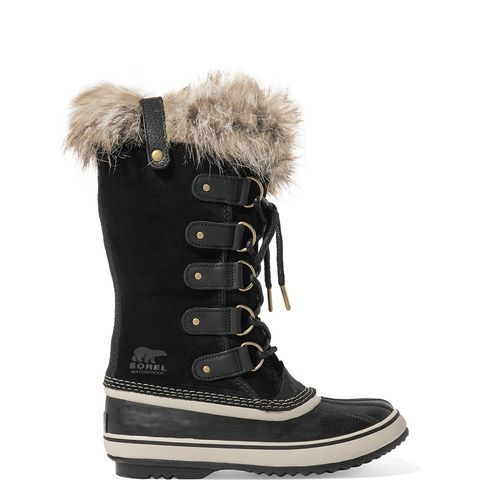 Joan of Arctic Waterproof Faux Fur-Trimmed Suede and Rubber Boots