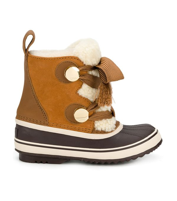 Sorel Crosta Leather-trimmed Suede And Shearling Boots