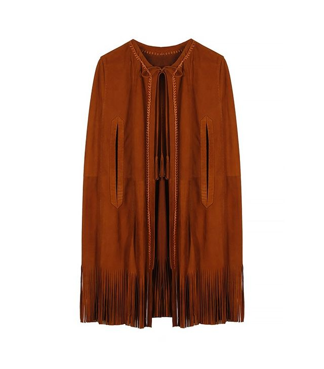 Sketch & Style Brown Suede Fringe Poncho