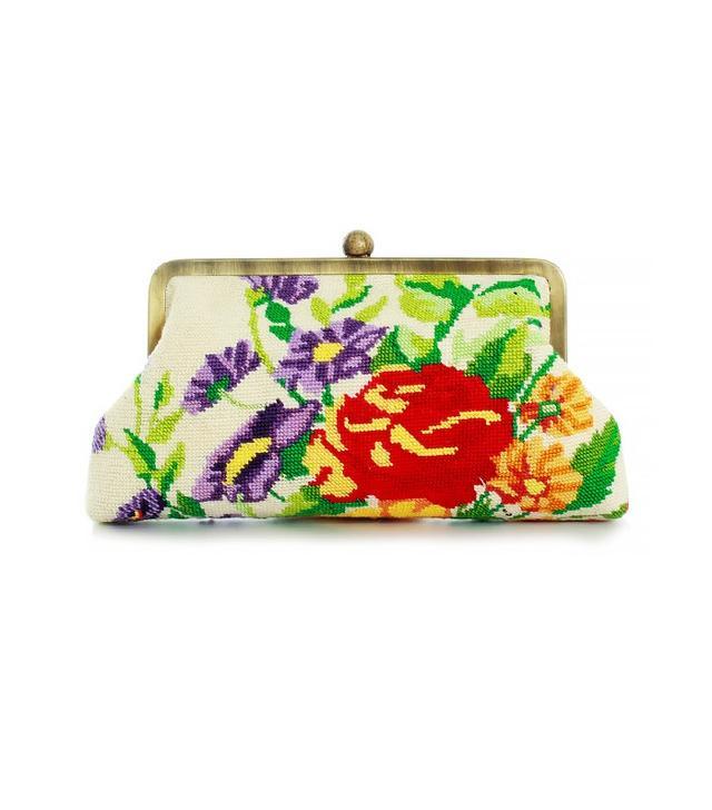 Sarah's Bag Classic Flower Sanva Beige Clutch