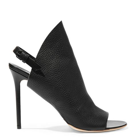 Textured-Leather Mules