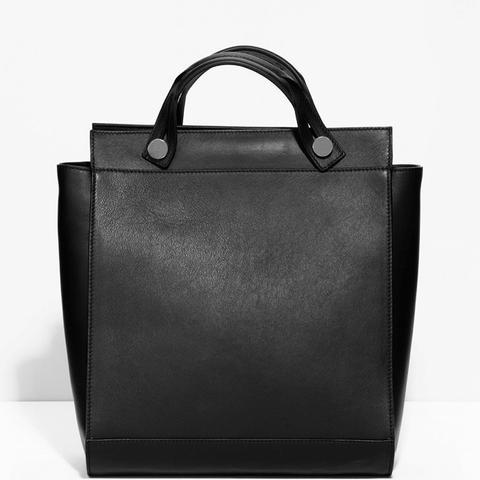 Slide Handle Leather Bag
