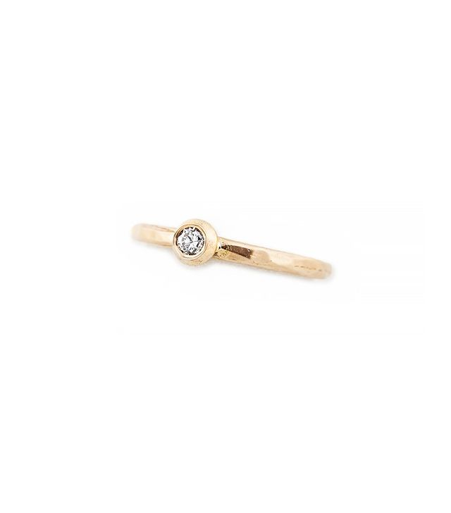 Jacquie Aiche Diamond Hammered Waif Ring in Gold Vermeil
