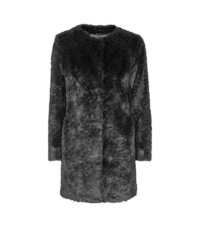 Topshop Short Faux Fur Collarless Coat