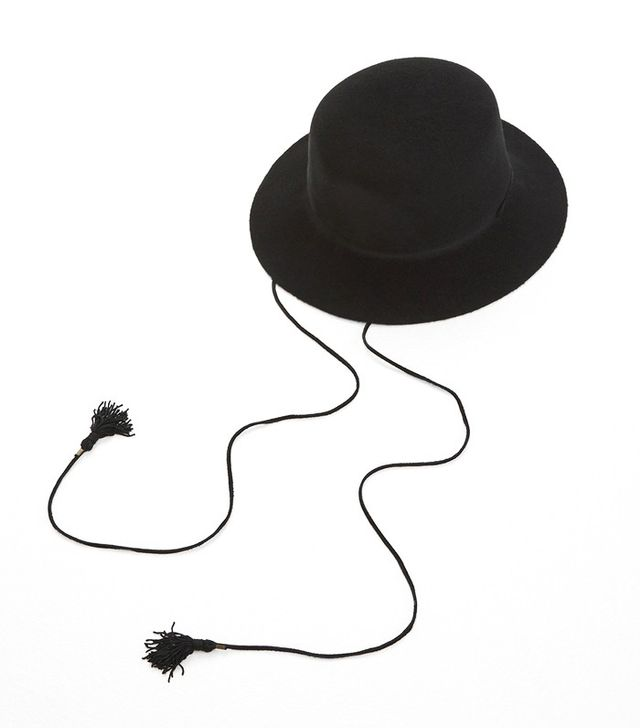 Clyde Black Flat Top Hat With Drawstring