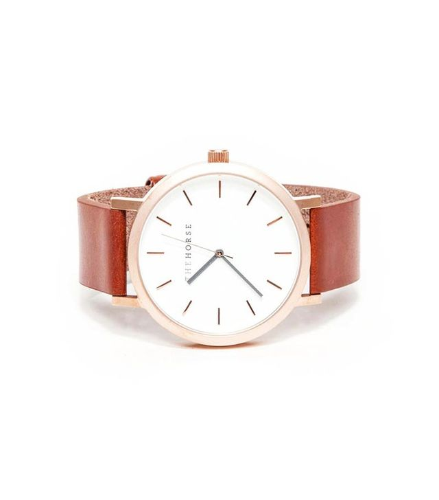 The Horse Brushed Rose Gold/Walnut Watch
