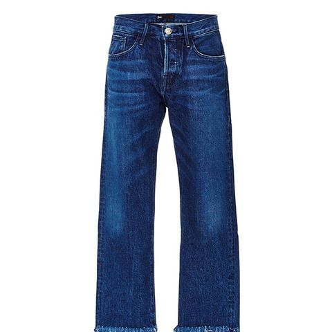 Denim Cropped Jeans With Frayed Fringed Hems