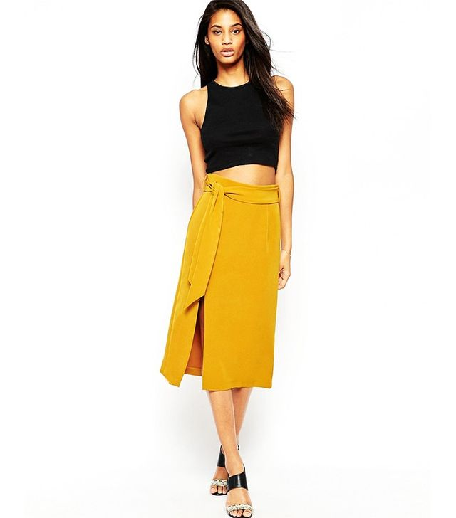 ASOS Midi A-line Split Detail Obi Belt Skirt