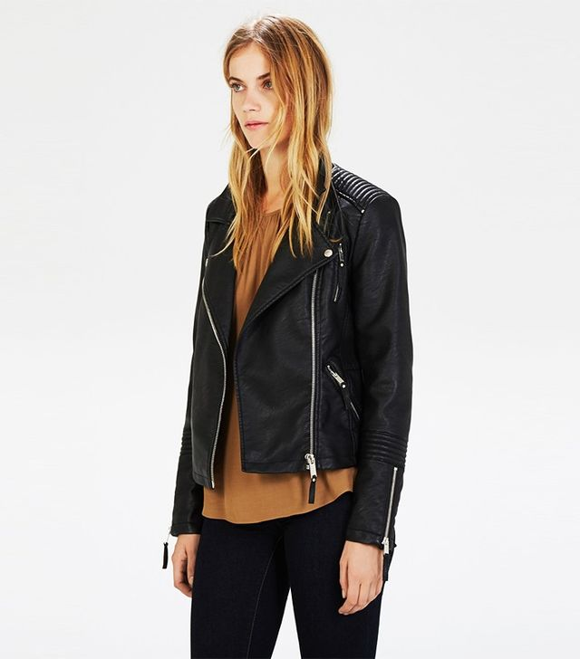 Warehouse Faux Leather Biker Jacket