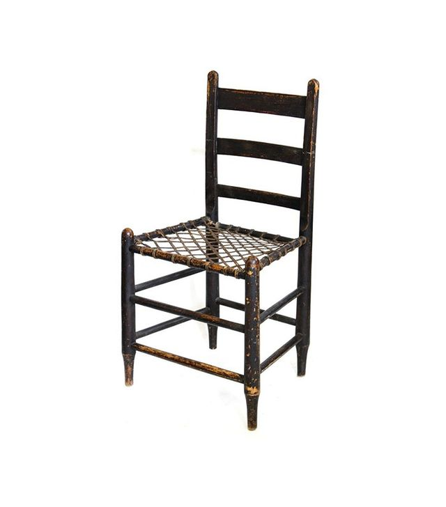 Vintage Wood Chair With Woven Leather Seat