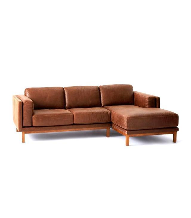 West Elm Dekalb Leather 2-Piece Chaise Sectional