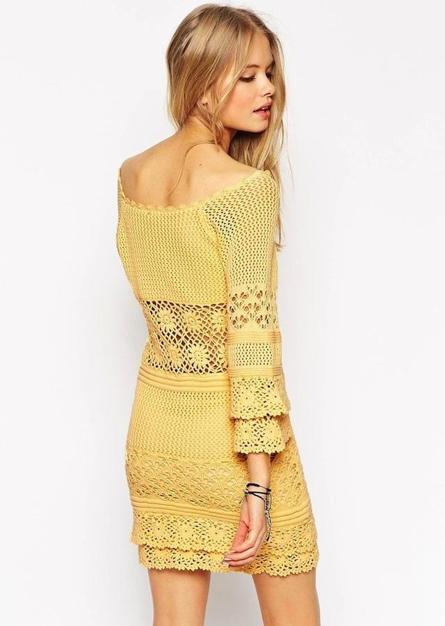 ASOS Crochet Dress With Off Shoulder