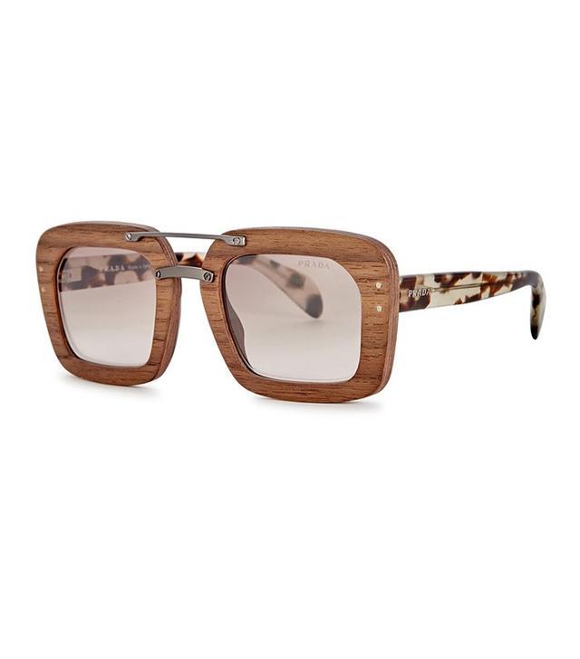 Prada Raw Wooden Square-Frame Sunglasses