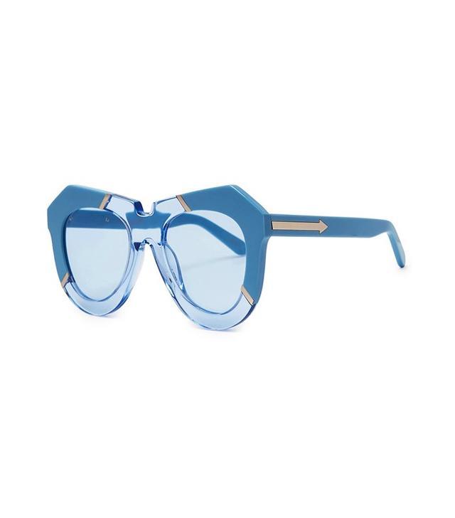 Karen Walker One Splash Blue Oversized Sunglasses