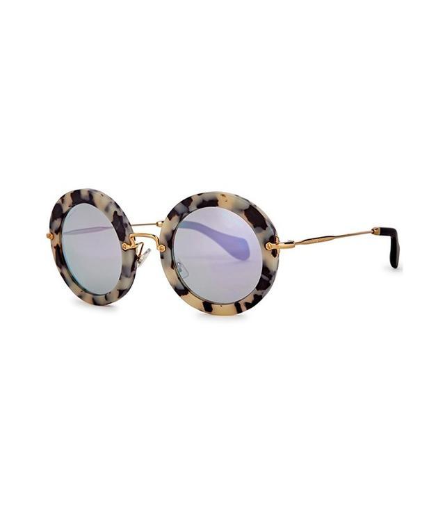 Miu Miu Tortoiseshell Round-Frame Sunglasses