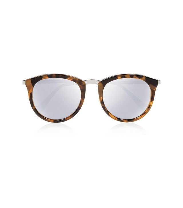 Le Specs No Smirking Round-Frame Acetate and Metal Mirrored Sunglasses