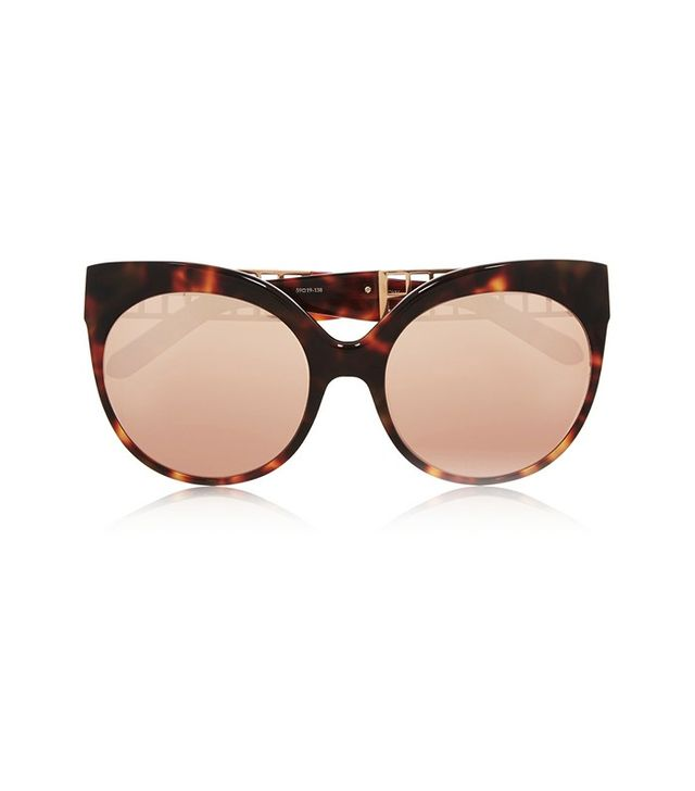 Linda Farrow Cat-Eye Rose gold-Plated Acetate Mirrored Sunglasses
