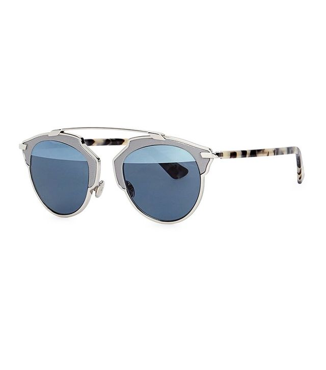 Christian Dior So Real Mirrored Clubmaster-Style Sunglasses