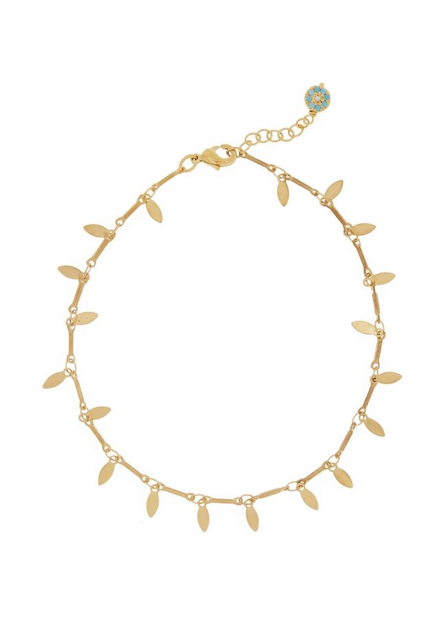 Iam by Ileana Makri Leaf Eye Gold-Plated Anklet