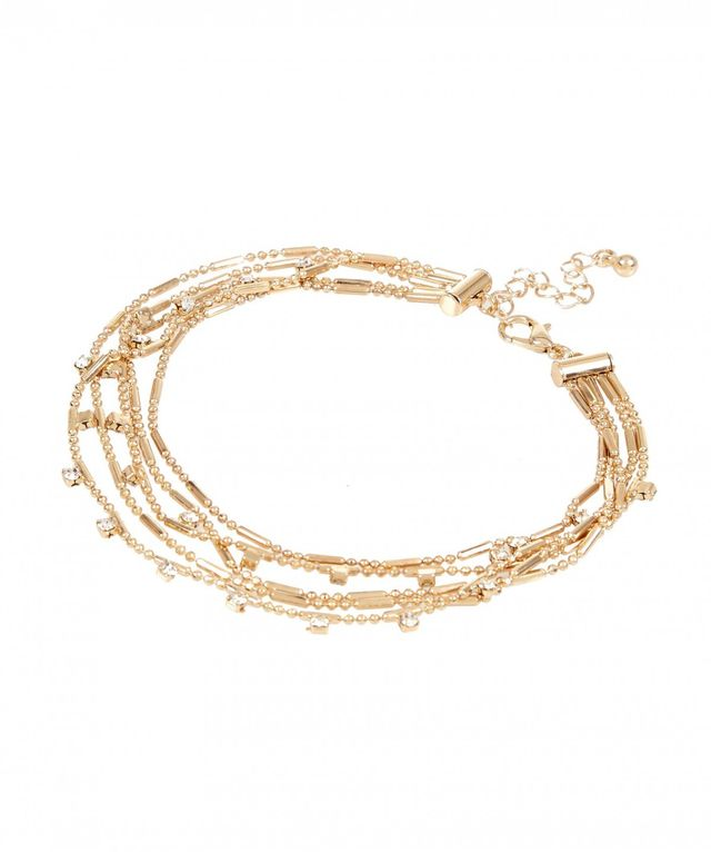 River Island Gold Tone Embellished Row Anklet