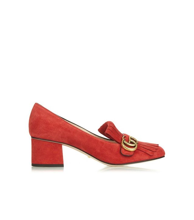 Gucci Marmont Fringed Suede Pumps