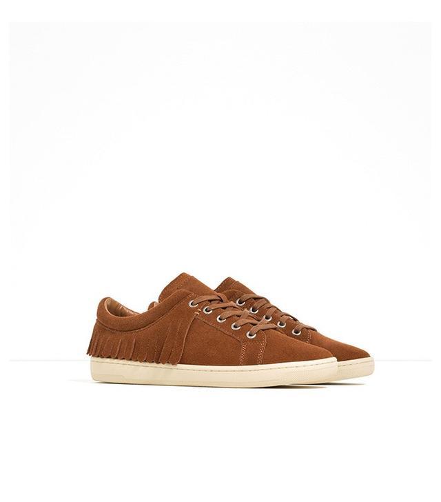 Zara Fringed Leather Plimsolls