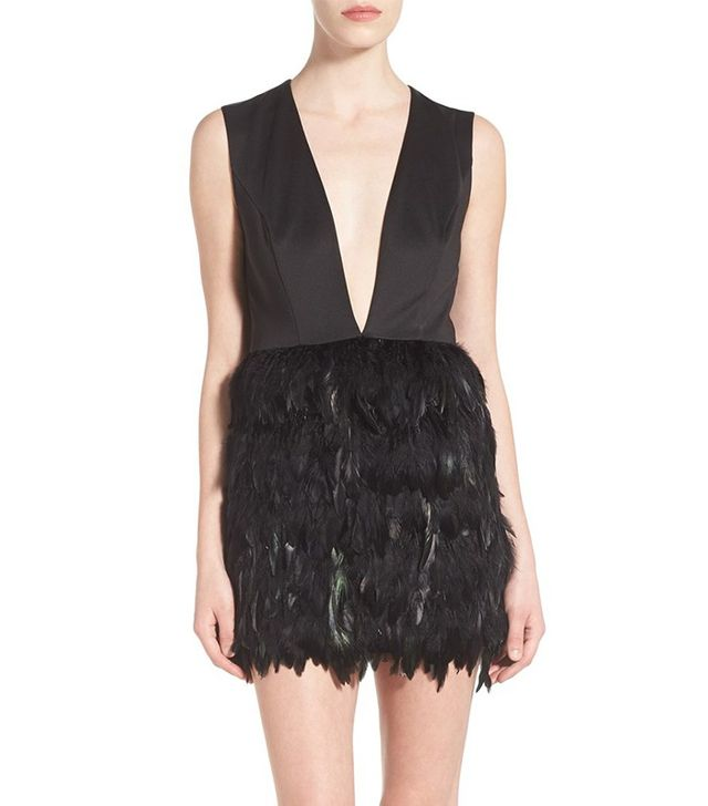 Missguided Plunging Feather Dress
