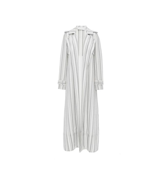 Sally LaPointe Striped Silk Wool Duster Coat