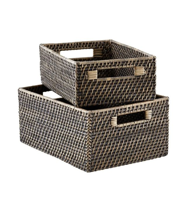 The Container Store Blackwash Rattan Bins